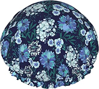 Niebieski wiejski kwiatowy wodoodporny czepek prysznicowy z elastycznym obszyciem dwustronna konstrukcja do prysznica czap...