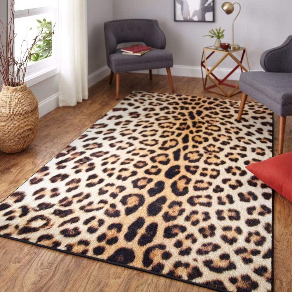 QXXKJDS Leopard Las Vegas Mall Print Carpet Living Yellow Sexy Hom Classic Max 46% OFF Room