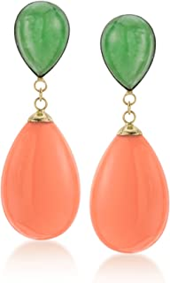 Ross-Simons Green Jade and Coral Teardrop Earrings in 14kt Yellow Gold