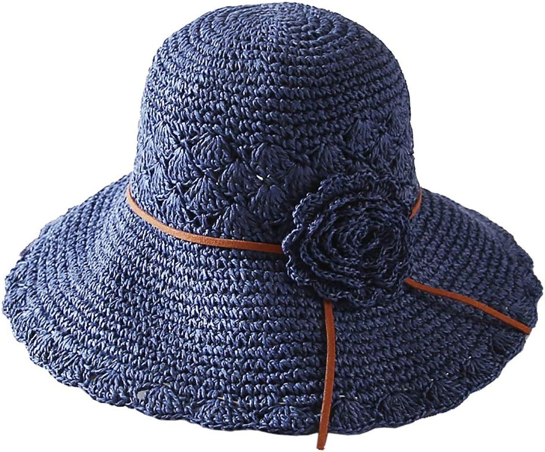 bluee Wide Brim Sun Hat, Beach Summer Sun Straw Hats for Women UPF 50+