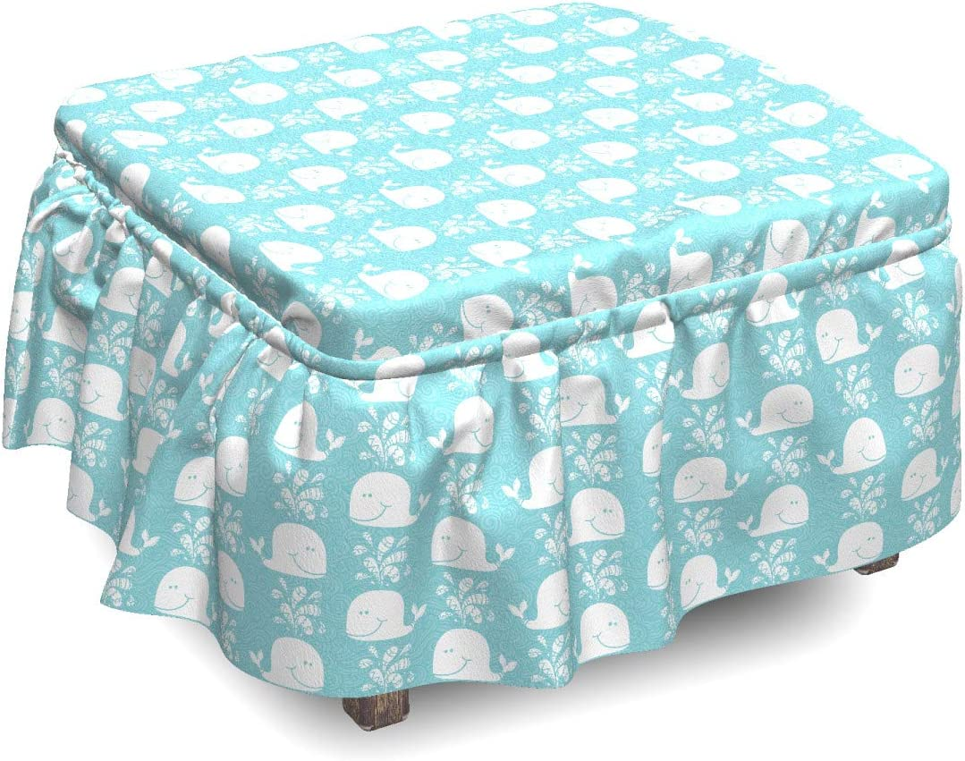 List price Ambesonne Blue and White Ottoman Cover 2 Jacksonville Mall Waves Piec Whales