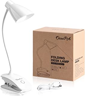 LED Clip Reading Light, OCOOPA Clip on Light Battery Operated, USB Rechargeable Book Light, Dimmable Touch Bedside Lamp, Portable Desk Lamp with Good Eye Protection