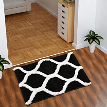 AEROHAVEN™ Glorious Super Soft Microfiber Designer Anti Slip Bathmat (Black, 40 x 60 cm)