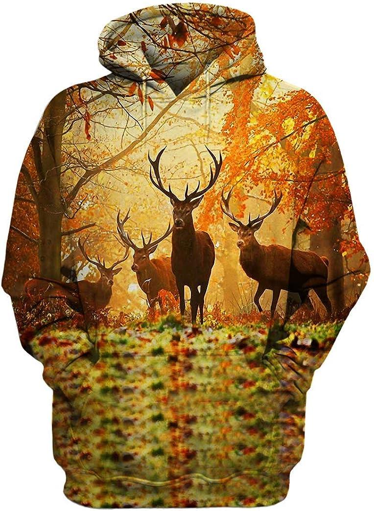 Deer Hoodie, Hoodies For Men Women - Warm Brushed Fleece Layer Inside - Pullover Long Sleeve Hooded Sweatshirt 21