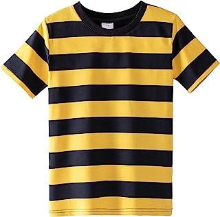 Spring&Gege Boys' Cotton Short Sleeve Striped Crew Neck T-Shirt