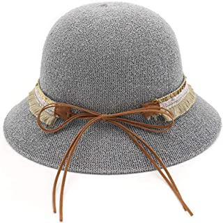 QinMei Zhou Spring and Summer New hat Ladies Loose Sunscreen Visor Dome Sun hat Basin Cap Fisherman hat Sun hat (Color : Grey, Size : 56-58cm)