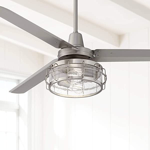 60 Turbina Brushed Nickel Seedy Glass LED Ceiling Fan Casa Vieja