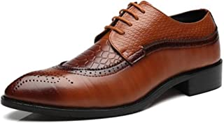 Men's Fashion Brogues Classic Wingtip Oxfords Business Shoe Lace-Up Perforated Dress Shoes