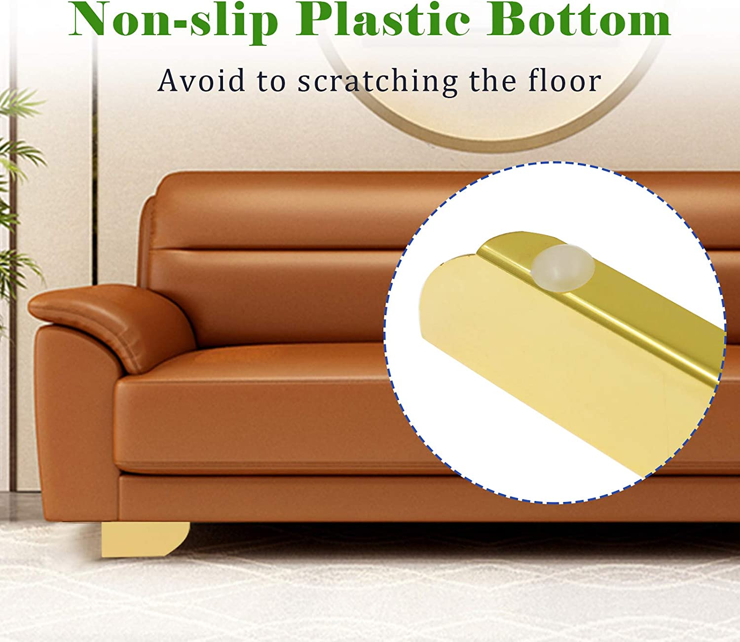 Zorfeter 2 Inch Furniture Legs Gold Set of 4 Metal Sofa Feets DIY Replacement Parts Minimalist Design for Cabinet Cupboard Sofa Couch