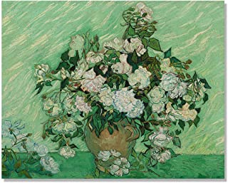 Wayfare Art Vase with Pink Roses by Vincent Van Gogh Canvas Prints Artwork Wall Art Poster for Home Office Living Room Decorations 10 x 8 inch