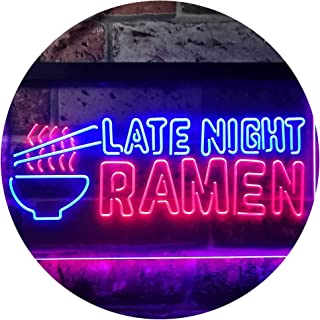 Late Night Ramen Japanese Food Dual Color LED Neon Sign Blue & Red 400 x 300mm st6s43-i3305-br