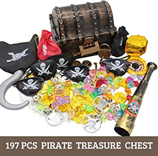 Pirate Treasure Chest Box 197 PCS Kids Pirate Toys Play Set for Pirate Party Storage Treasure Chest with Gold Coins Gems Banknotes Earrings Rings Telescope Patches Money Bags Compass Locks Keys