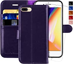 MONASAY iPhone 7 Plus Wallet Case/iPhone 8 Plus Wallet Case,5.5-inch, [Glass Screen Protector Included] Flip Folio Leather Cell Phone Cover with Credit Card Holder (Purple)