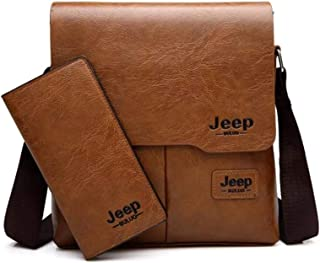 Men's shoulder bag with purse - khaki color