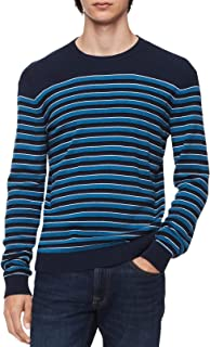 Mens Big & Tall Striped Ribbed Trim Pullover Sweater
