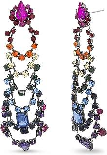 Steve Madden Womens Rainbow Rhinestone Tiered Chandelier Earrings