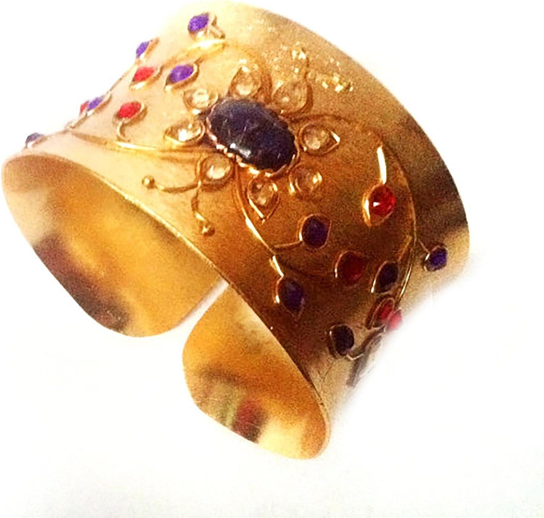 Taneesi Gold Bangle Cuff Bracelet- Royal Kundan Bangle-Gemstone Bracelet,Statement Jewelry
