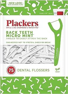 Plackers Back Teeth Micro Mint Dental Floss Picks, 75 Count
