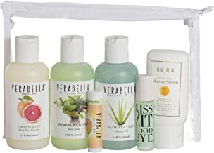 Verabella Face Essentials Kit with Clear Zippered Tote: Grapefruit Deep Pore Cleanser, Herbal BeauTea Skin Tonic, Aloe Tea Tree Healing Gel, MoistureScreen SPF 45, and More