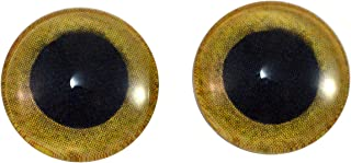 14mm Yellow Owl Glass Eyes Doll Irises for Art Polymer Clay Taxidermy Sculptures or Jewelry Making Set of 2