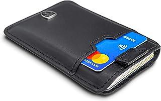 TRAVANDO ® Tarjetera con Seguridad RFID, PROTECCIÓN hasta 12 Tarjetas (Crédito) - Billetera Fina - Pinza para Billetes - C...