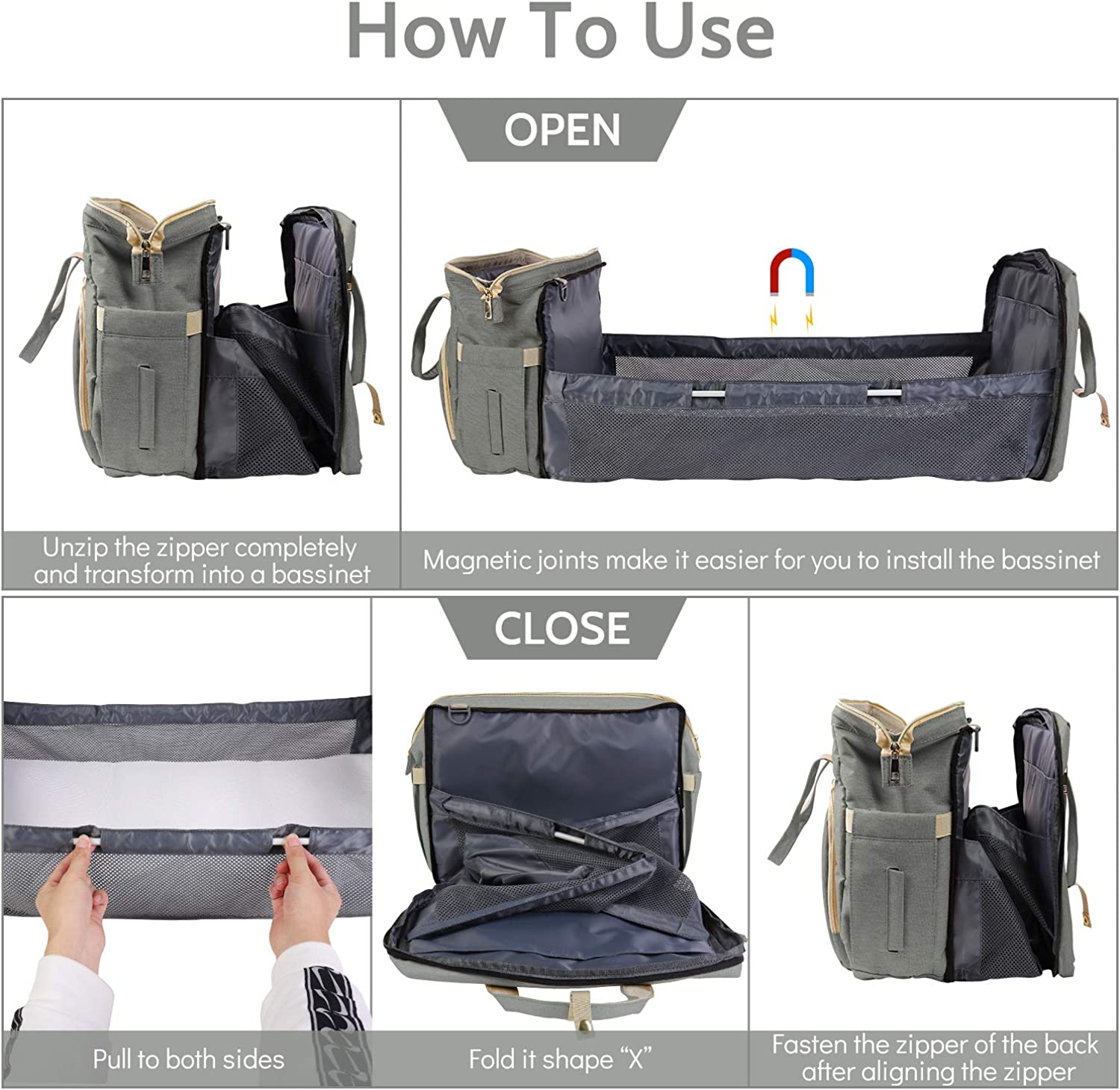 For Parents Bosixty Diaper Bag Backpack,Multifunctional Portable Foldable Cot Bed,Waterproof Maternity Nappy Bag Travel Bag With Changing Station