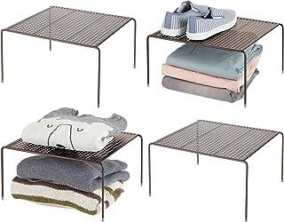 mDesign séparateur étagère pour garde-robe– organiseur d'armoire pratique en métal – aménageur de placard pour la chambre,...
