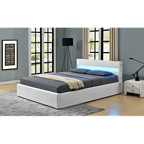 22e4774e78fb Romero LED Music Bed with Bluetooth - Speakers - Ottoman Gas Lift Storage -  Faux Leather