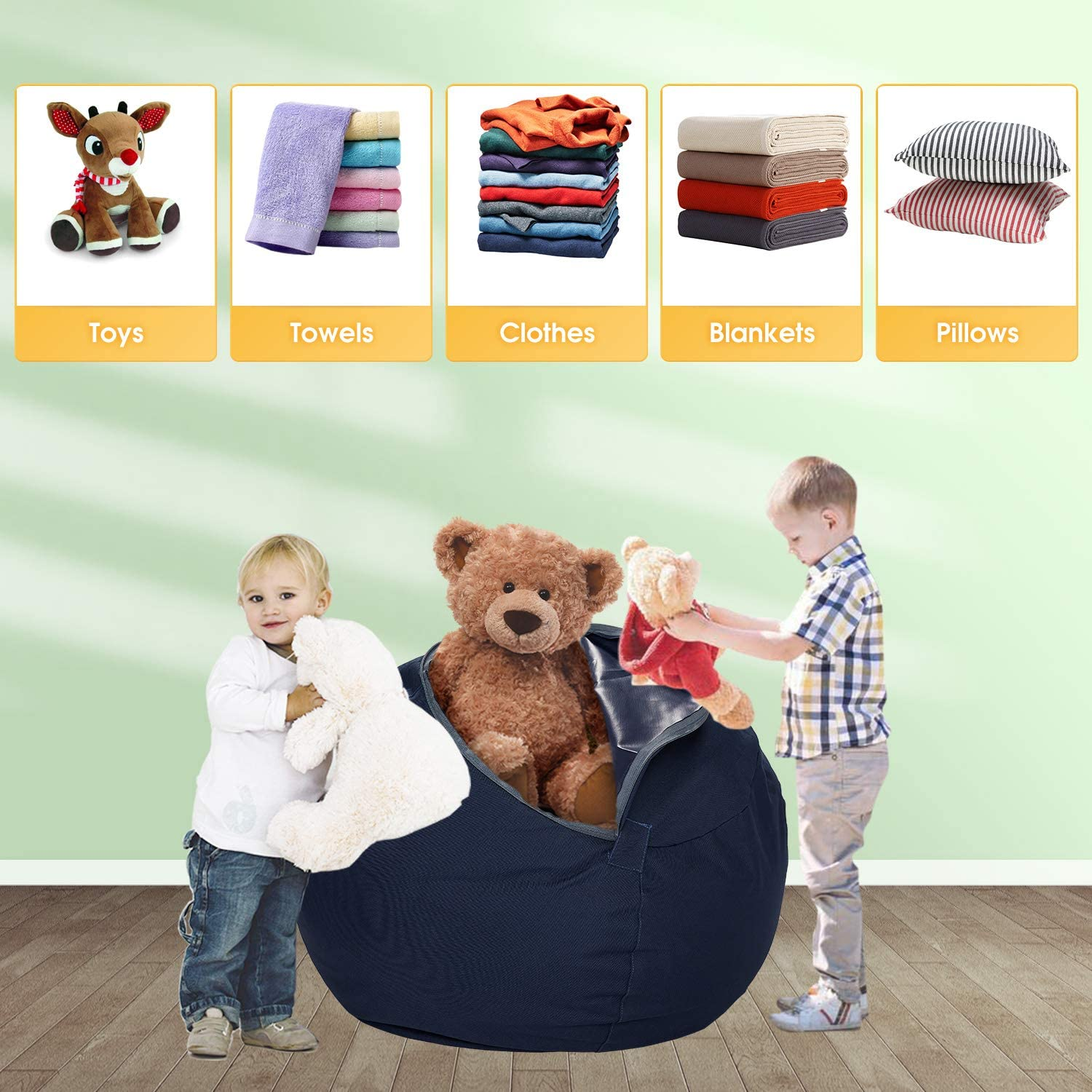 Zipper Beanbag for Organizing Children Plush Toys Goodking Stuffed Animal Storage Bean Bag Chair Cover for Kids and Adults 35 Large Premium Canvas Orange