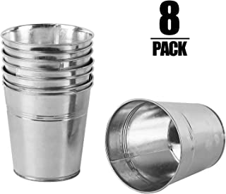KINJOEK 8 Pack Galvanized Bucket Round Flower Pot Plant Basket Metal Planter for Balconies, Patios,Gardens, Office, Parties and Weddings (4.72 x4.72x3.54 inch)
