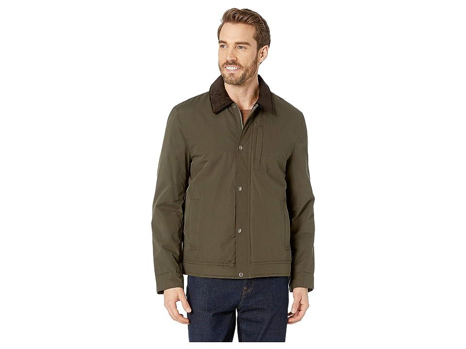 Cole Haan City Rain Padded Barn Jacket with Corduroy Collar (Olive) Men