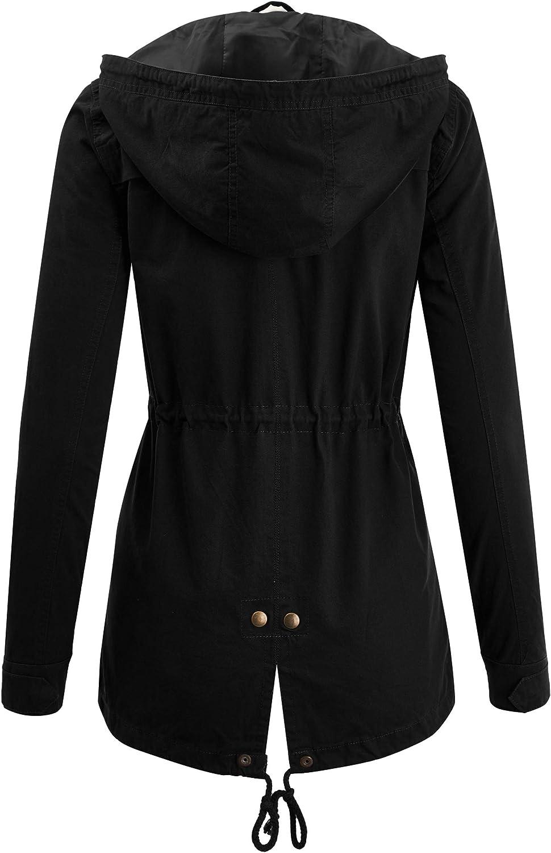 FASHION BOOMY Women's Zip Up Safari Military Anorak Jacket with Hood Drawstring - Regular and Plus Sizes