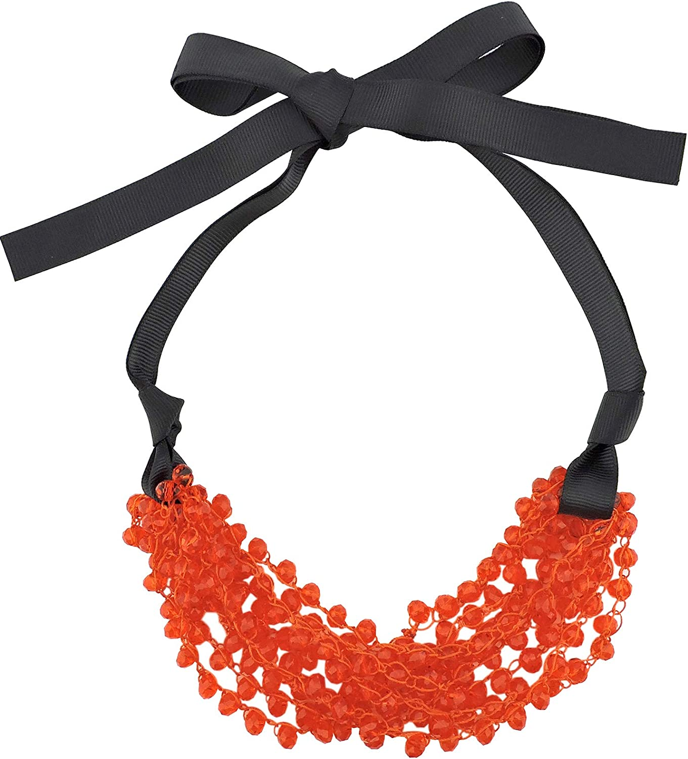 Firstmeet FIRSTMET Handmade Cheap sale Online limited product Ribbon Bow Collar Neckl Beaded Glass