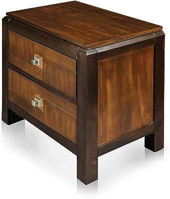 Orientalischer Holz Nachttisch Gowri Dunkel Holz Messing