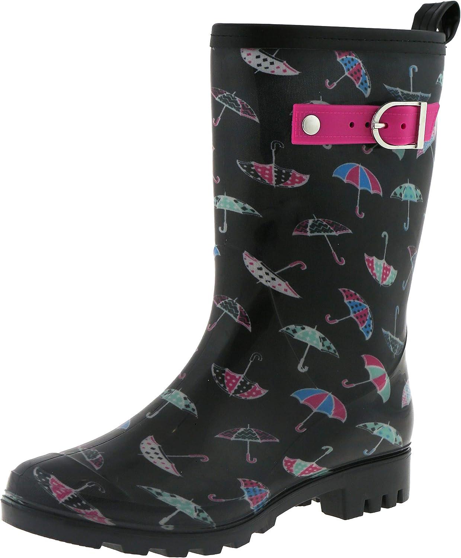 Capelli New York Ladies Shiny Mixed Umbrella Printed Mid Calf Rain Boot Black Combo 6
