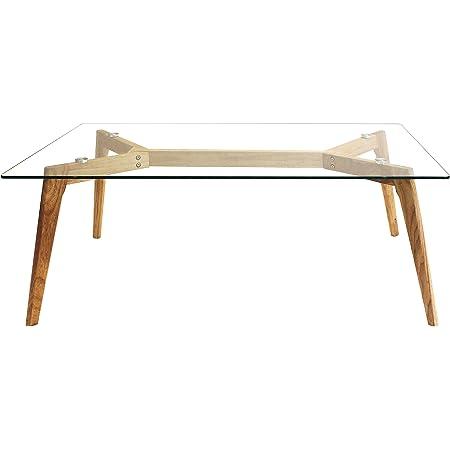 THE HOME DECO FACTORY HD3801 Table en Verre, Bois, Transparent-Marron, 110 x 60 x 45 cm