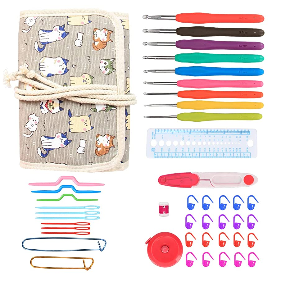 Damero Ergonomic Crochet Hooks Kit Organizer, Travel Canvas Roll Set with 9pcs Crochet Hooks, Comfortable Rubber Grip and Crocheting Accessories Supplies, Carrying with Ease, Cartoon Cats