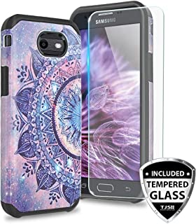 TJS Case Compatible for Samsung Galaxy J7 Sky Pro/Galaxy J7 Perx/Galaxy J7 V/Galaxy Halo/Galaxy J7 Prime, with TJS [Tempered Glass Screen Protector] Dual Layer Hybrid Shockproof Armor Cover (Mandala)