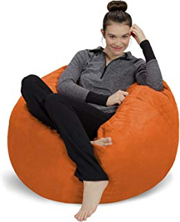 Sofa Sack - Plush, Ultra Soft Bean Bag Chair - Memory Foam Bean Bag Chair with Microsuede Cover - Stuffed Foam Filled Furniture and Accessories for Dorm Room - Tangerine 3'