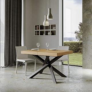 Volantis Table extensible avec plateau en chêne naturel 90 x 160 cm allongée 264 cm, cadre anthracite
