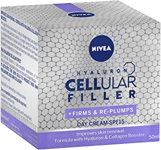 NIVEA Cellular Filler Anti Ageing Day Face Cream SPF15 with Hyaluron & Collagen Booster for Mature Skin 50ml