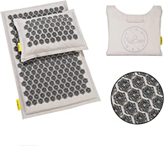 TimeBeeWell Eco-Grey Friendly Acupressure Mat and Pillow Set - Back and Neck Pain Relief -Relieves Stress, Back, Neck, and Sciatic Pain Muscle Relaxant - Comes in a Carry Bag for Storage and Travel