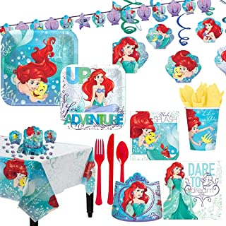 AMSCAN EUROPE The Little Mermaid ARIEL8 Party Supplies for 8 Guests, Includes Plates, Cups, a Banner, Table Cover, Decorat...