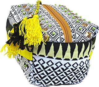 Lovestitch Embroidered Loaf Makeup Bag Black, White and Yellow