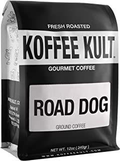 "Dark Roast, Ground Colombian Coffee - Koffee Kult's Award-Winning ""Road Dog"" Blend - Full Body Arabica Coff..."