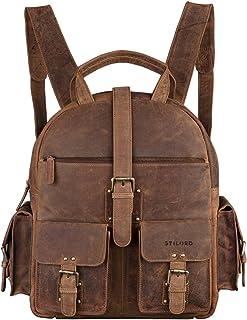 Mochila de Cuero para Señoras Grande con Compartimento Tableta/Escuela Universidad - Color marrón de Cuero auténtico, Color:marrón - Medio