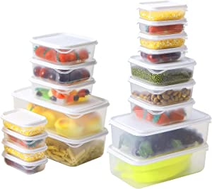 HORLIMER 36 Pcs Food Storage Containers Set, BPA-Free Plastic Meal Prep Freezer Container with Lids, Stackable and Reusable