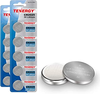 Tenergy CR2025 3V Lithium Button Coin Cell Batteries, Ideal for Key Fob Battery cr2025, Watches, Calculators, Thermometer...