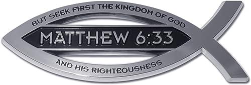 Elektroplate Christian Fish Matthew 6:33 Verse Chrome Auto Emblem