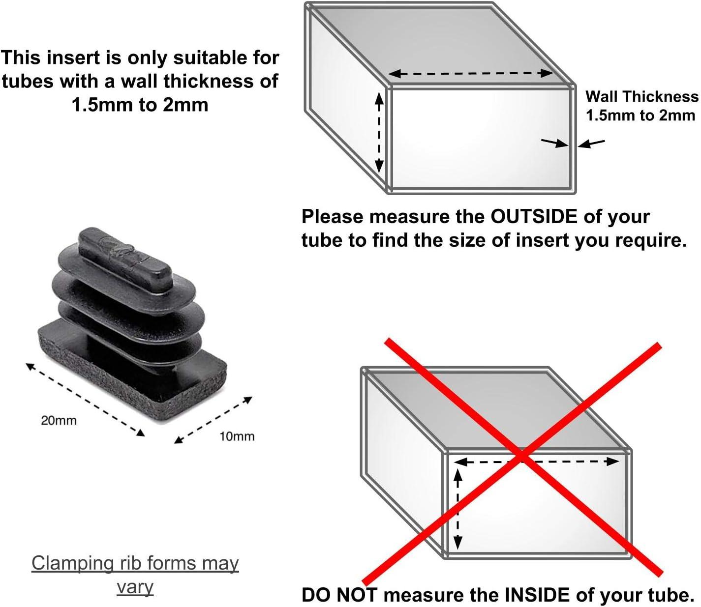 paquete de 100 unidades, ver la segunda imagen para las dimensiones . fabricados en Alemania Tapones rectangulares de pl/ástico negro acanalados de 20 x 10 mm